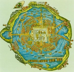 Aztec city of Tenochtitlan, found in the fresh water lake of Lake Texcoco.