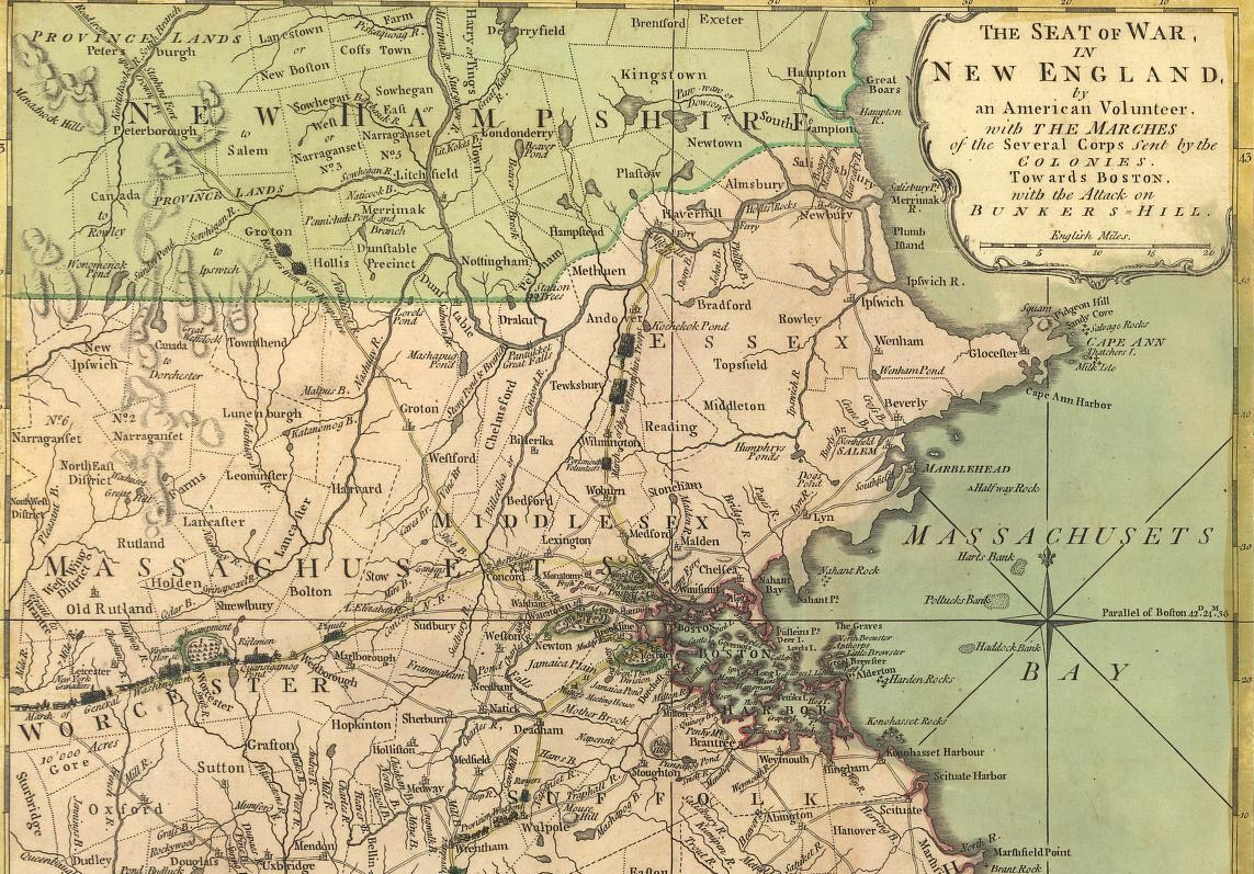 Map of Boston and New hampshire
