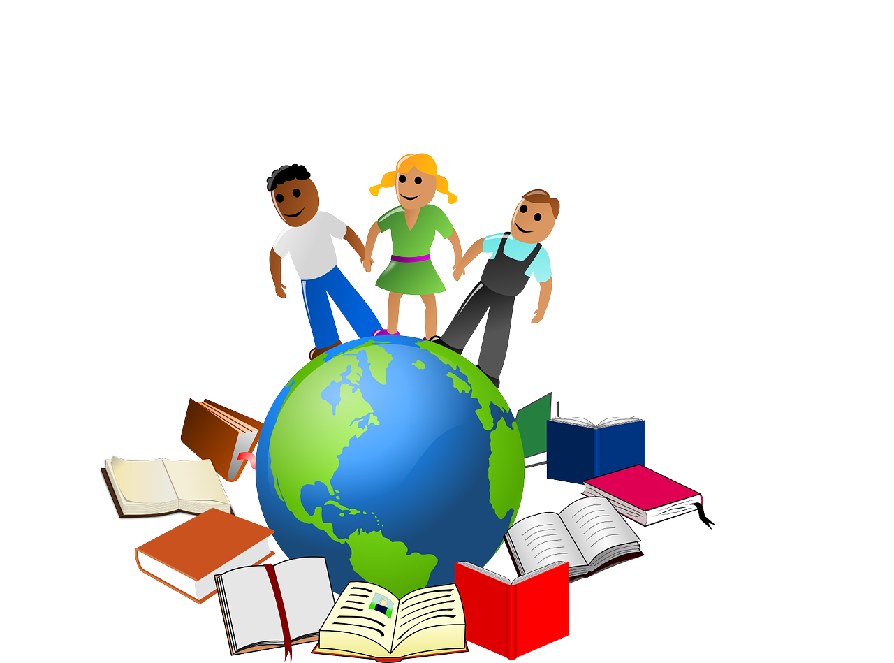 A picture that three students holding hands with books around the them and the world implies that people are learning globally with no barriers.