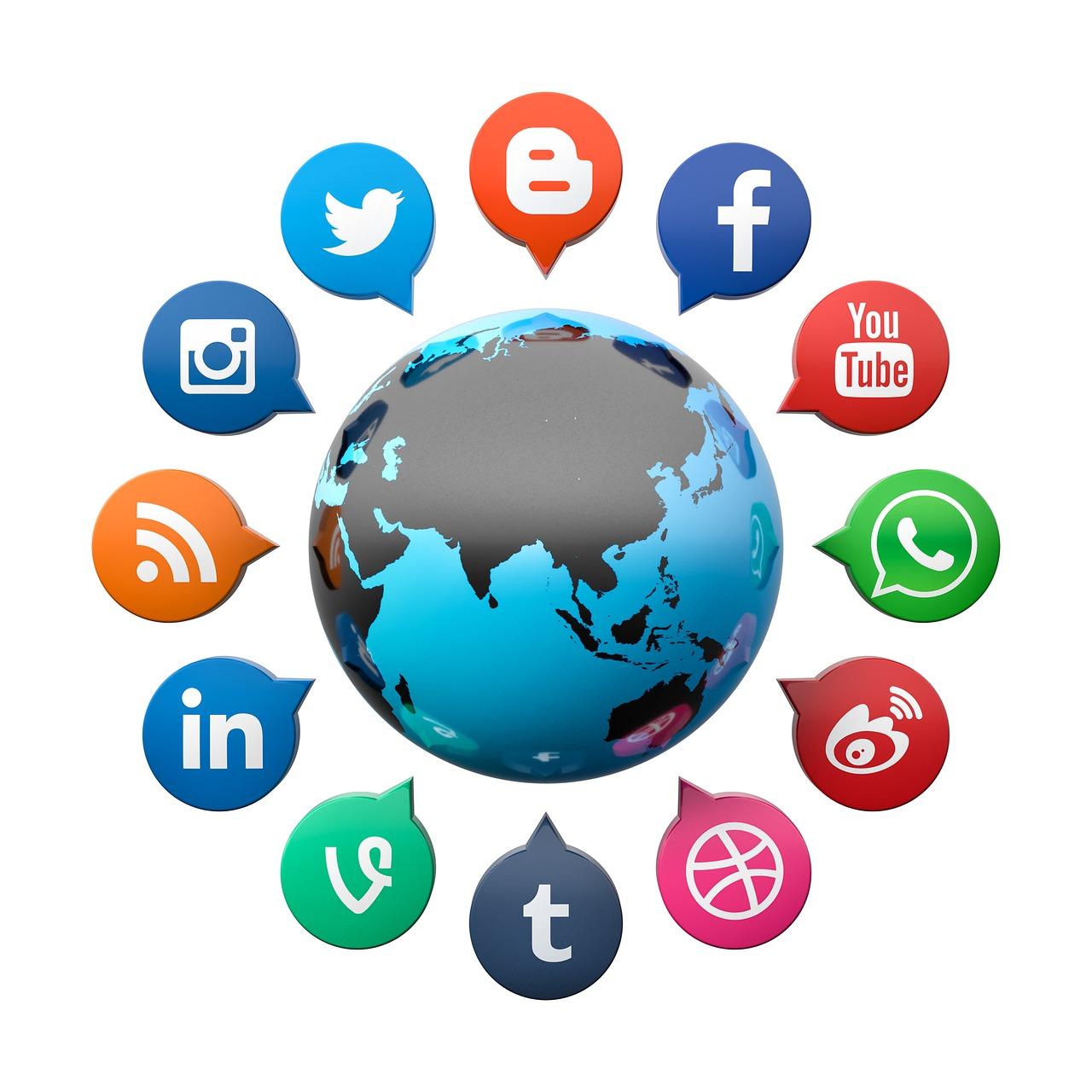 Logos of different social media.