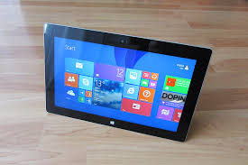 The picture showing a Microsoft tablet. It shows a brief display of how the Window system looks like.