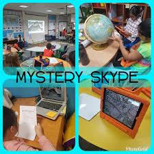 A picture shows students discussing in groups and with the use of different tools to search the answer for the Mystery Skype.