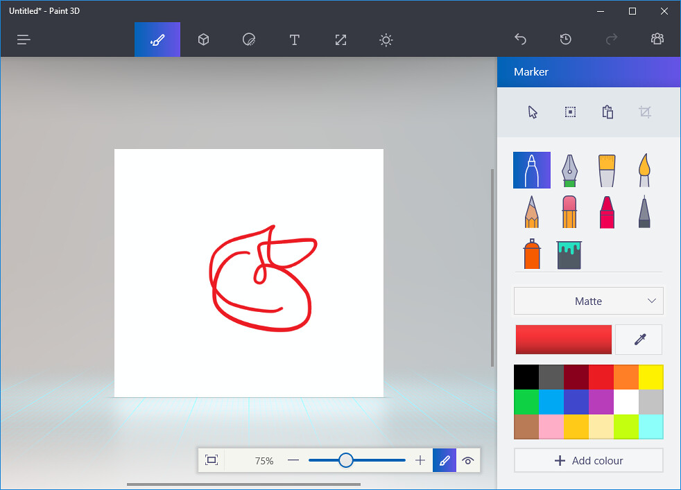 A picture shows the displays of the Microsoft Windows 10 system built-in app, Paint 3D.