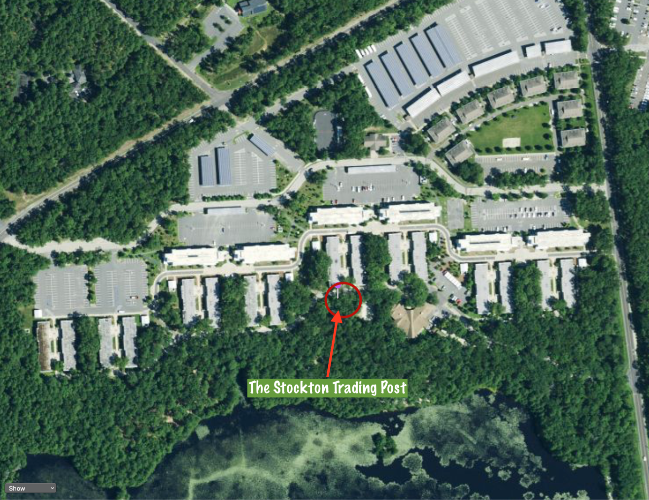 Map Showing Where the Trading Post is on the Stockton Campus
